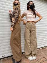 Euro Style High Waist Solid Corduroy Straight Pants