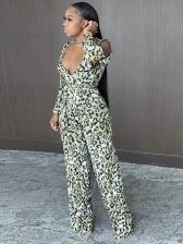 V Neck High Waist Plus Side Leopard Jumpsuit