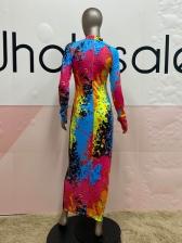 Off Register Graffiti Printing Ruched Long Sleeve Maxi Dress