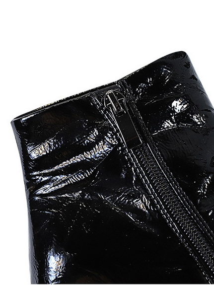 Glossy Patent Leather Ankle Womens Boots
