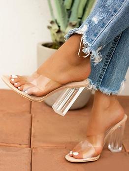 Euro Clear Chunky Heel Ladies Slippers