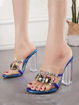 Trendy Rhinestone Chunky Heel Womens Slippers