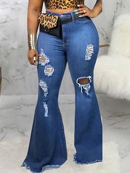 Fashion Wide Leg Plus Size Ladies Jeans