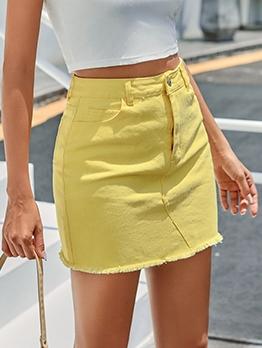 Versatile High Waisted Solid A Line Skirt