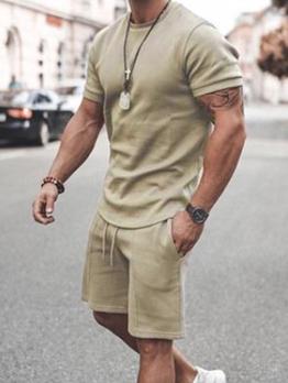 Solid Color Short Sleeve Mens Activewear
