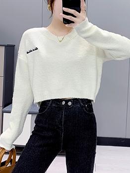 Korea Letter V Neck Pullover Sweater