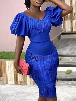Chic Tassels Puff Short Sleeve Party Dress