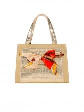 Silk Scarf Decor Crocodile Pattern Shoulder Bag