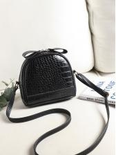 Pure Color Alligator Print Mini Shoulder Bag