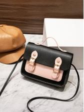 Contrast Color Double Hasp Pu Shoulder Bag