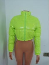 Stand Neck Long Sleeve Women Crop Coat