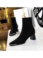 Fashion Inner Fluffy Suede Chunky Heel Boots