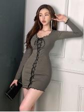 Sexy Lace-Up Design Long Sleeve Mini Dress