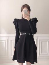 Elegant Knitted Long Sleeve Sweater Dress