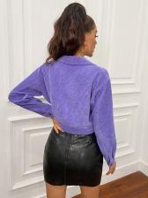 Casual Turndown Collar Corduroy Solid Women Jacket