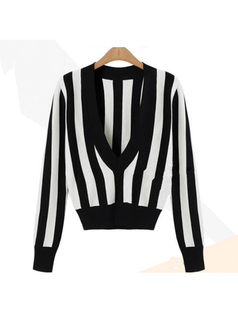 Sexy Deep V Neck Long Sleeve Sweater