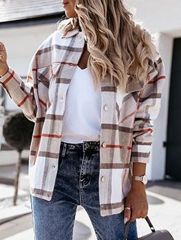 Autumn Casual Loose Plaid Long Sleeve Blouse