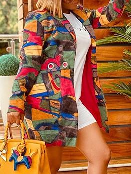 Fashion DoodlePrint Leisure Long Coat