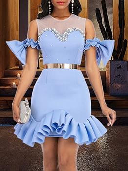 Gauze Patchwork Ruffled Beading Elegant Party Dresses