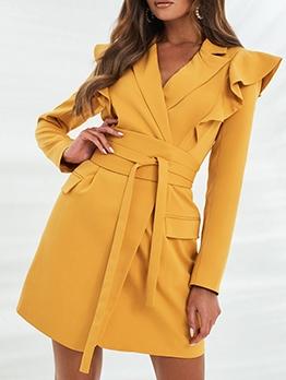 Fashion Ruffled Notch Collar Long Sleeve Dress