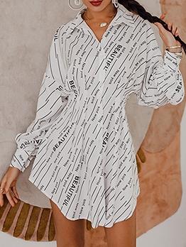 Euro Letter Printed Long Sleeve Shirt Dress