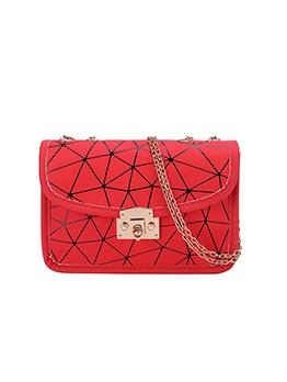 Stylish Geometric Pattern Chain Shoulder Bag
