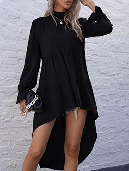 Fashion Solid Ruffle Flare Long Sleeve Dress
