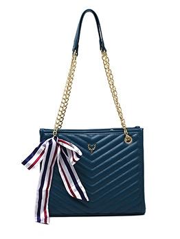 Silk Scarf Decor Threaded Shoulder Bag With Chain