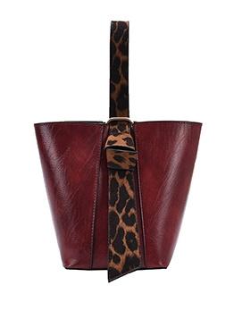 Leopard Belt Large Capacity Bucket Bag