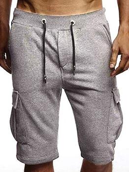 Summer Solid Drawstring Half Pants Men
