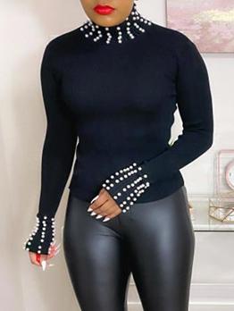 Faux Pearl Decor Long Sleeve T Shirts Women