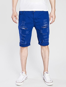 Solid Hole Washable Denim Half Pants