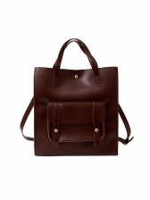 Pure Color Large Capacity Leather Tote Bag
