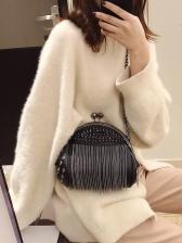 Tassel Detail Rivets Black Women Handbag