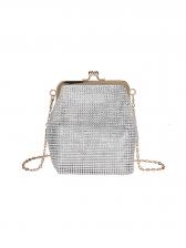 Full Rhinestone Decor Evening Bag With Chain