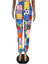 Multi-Element Printed Elastic Waist Womens Sweatpants