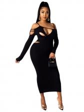 Fashion Irregular Hollow Out Long Sleeve Bodycon Dress