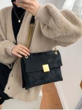 Texture Rhombic Suede Chain Shoulder Bag