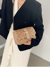 Rhombic Plush Crossbody Chain Shoulder Bag