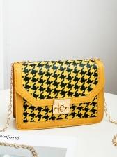 Chic Twist Lock Houndstooth Chain Shoulder Bag