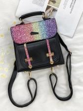 Trendy Shiny Hasp Small Backpack