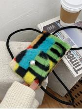 Cute Color Block Hasp Phone Bag
