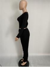 U Neck Solid 2 Piece Stacked Pants Set
