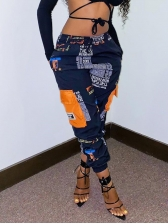 Casual Printed Pockets Pants For Women