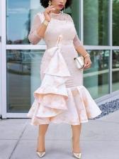 Gauze Beading Ruffled Party Wear Dresses For Womens
