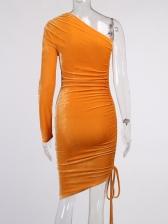 Elegant Ruched Inclined Shoulder One Piece Dress