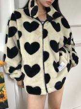 Winter Contrast Color Heart Print Plush Coat
