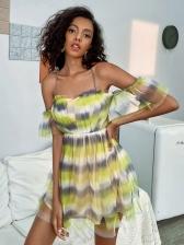 Summer Gauze Contrast Color Hater Dress