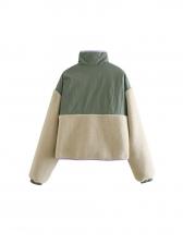 Fashion Patchwork Plush Contrast Color Winter Coat