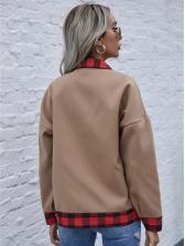 Contrast Color Plaid Woolen Short Coat